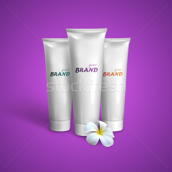 White tubes mock-up for cream, tooth paste or gel with frangipani exotic flower. Vector packaging il Stock photo © maximmmmum