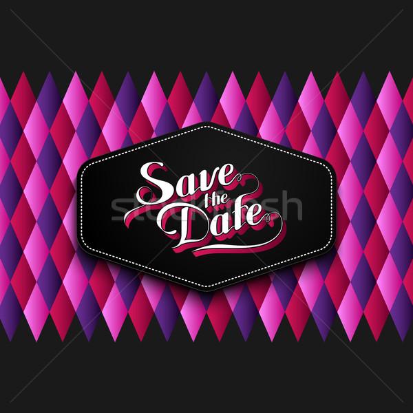 illustration of handwritten Save the Date label Stock photo © maximmmmum