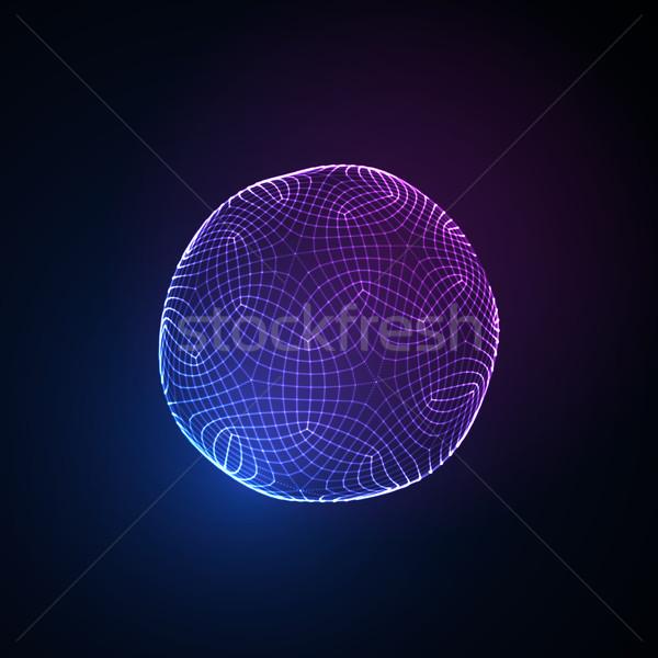 3D küre parçacıklar neon Stok fotoğraf © maximmmmum