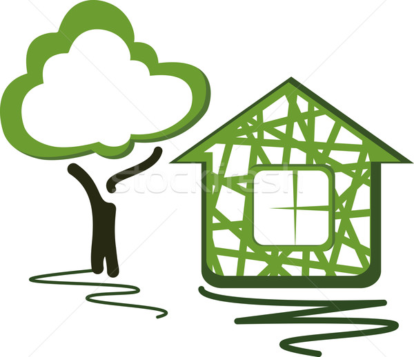 теплица дерево дома лист знак архитектура Сток-фото © maximmmmum
