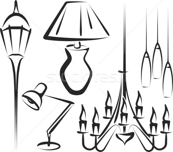 Illuminazione illustrazione set apparecchi di illuminazione città luce Foto d'archivio © maximmmmum