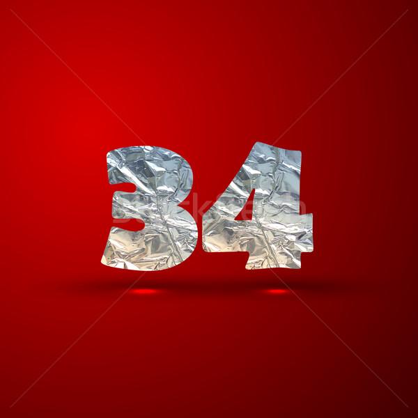 Vektor szett alumínium ezüst számok textúra Stock fotó © maximmmmum