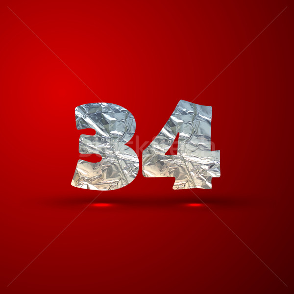 vector set of aluminum or silver foil numbers 3, 4 Stock photo © maximmmmum