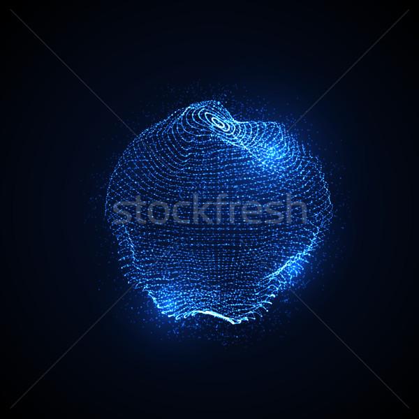 3D déformée sphère particules Photo stock © maximmmmum