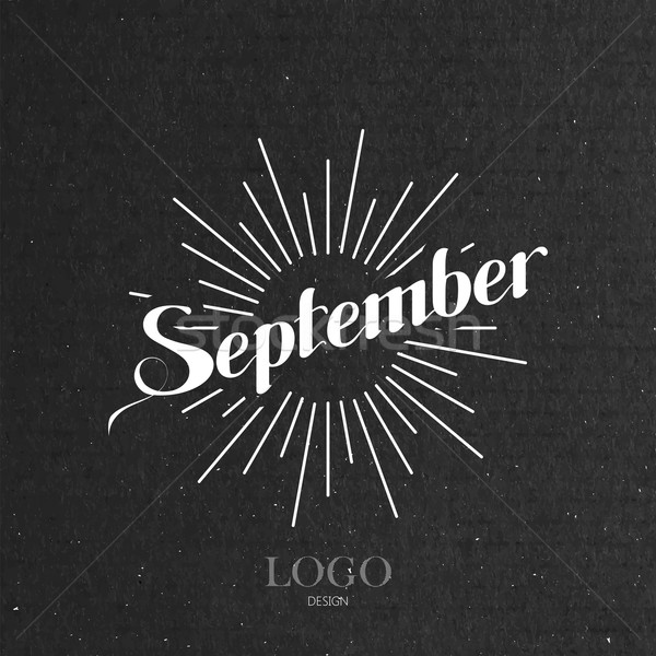 illustration of handwritten September retro label with light ra Stock photo © maximmmmum