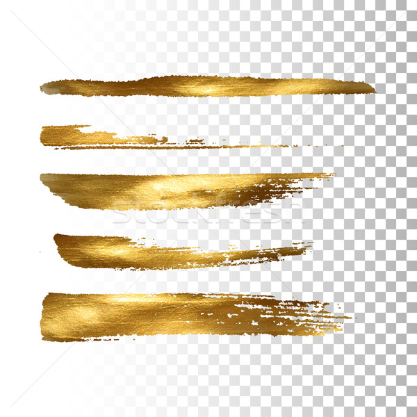 Golden paint brush stroke set Stock photo © maximmmmum