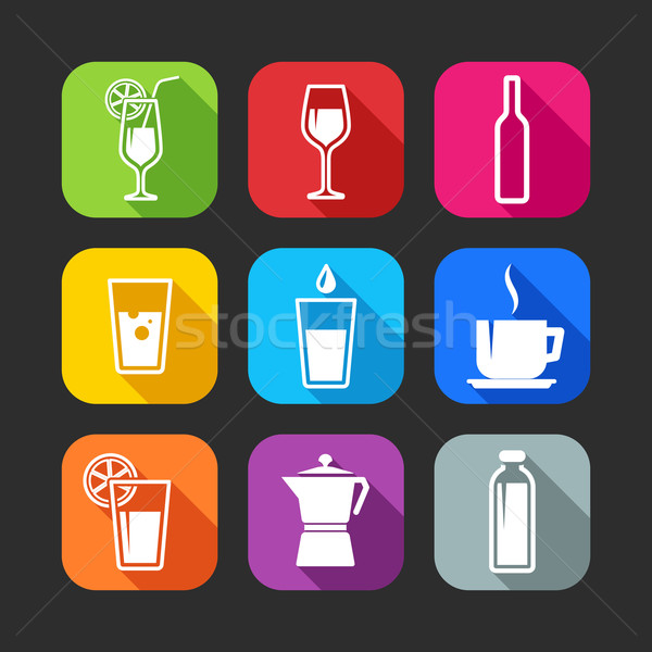 Stock photo: flat icons for web and mobile applications with beverages (flat design with long shadows)
