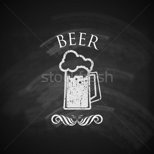 vintage beer pint glass with chalkboard texture. vector illustration Stock photo © maximmmmum