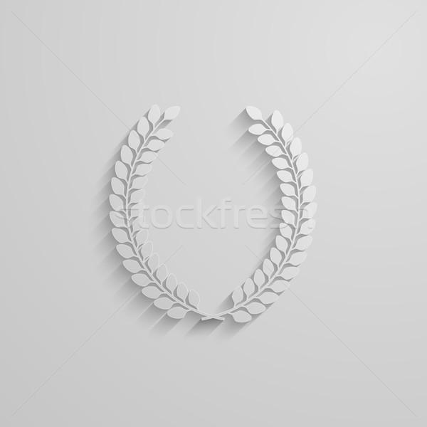 vector illustration of laurel wreath. 3d paper design with long shadow Stock photo © maximmmmum