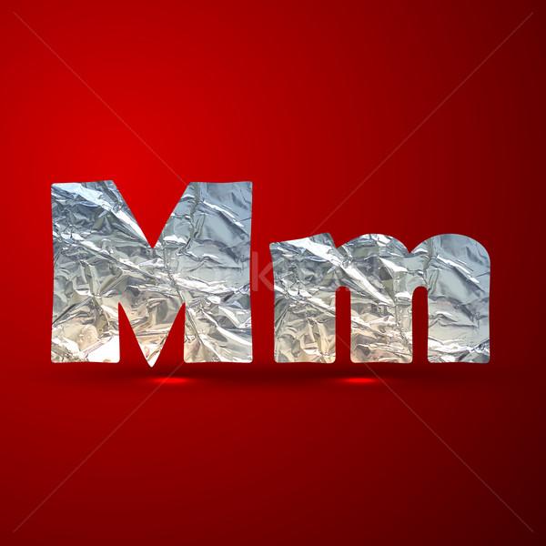 vector set of aluminum or silver foil letters. Letter M Stock photo © maximmmmum