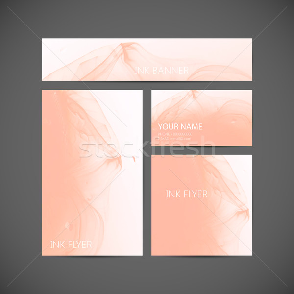 set of vector visual corporate identity with fluid ink swirling  Stock photo © maximmmmum