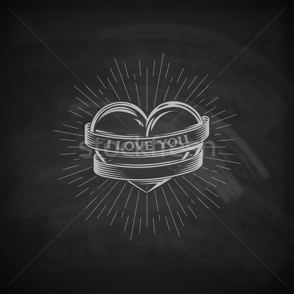 vector illustration of engraving heart,  ribbon and burst light rays emblem on the chalkboard textur Stock photo © maximmmmum