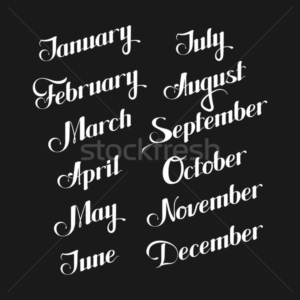 Stock photo: vector typographic illustration of handwritten months of the year (February, March, July, October, D