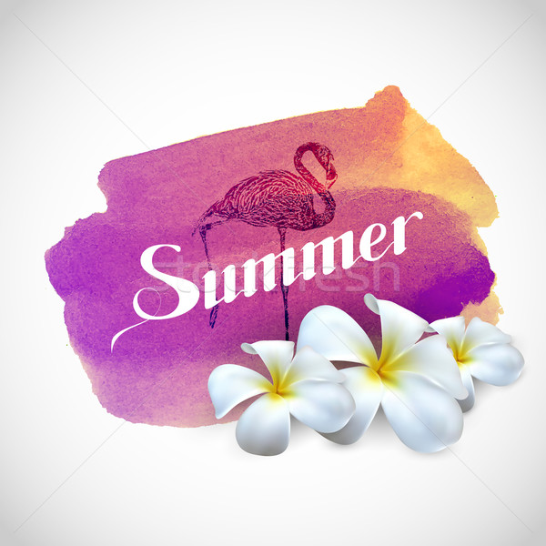 Summer label with exotic flowers and flamingo bird  Stock photo © maximmmmum