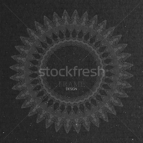 Díszes keret karton textúra kecses vonal Stock fotó © maximmmmum
