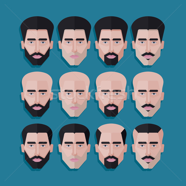 vector set of male faces in flat polygonal style. men hair style icons Stock photo © maximmmmum