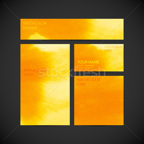 set of vector visual corporate identity with orange paint waterc Stock photo © maximmmmum