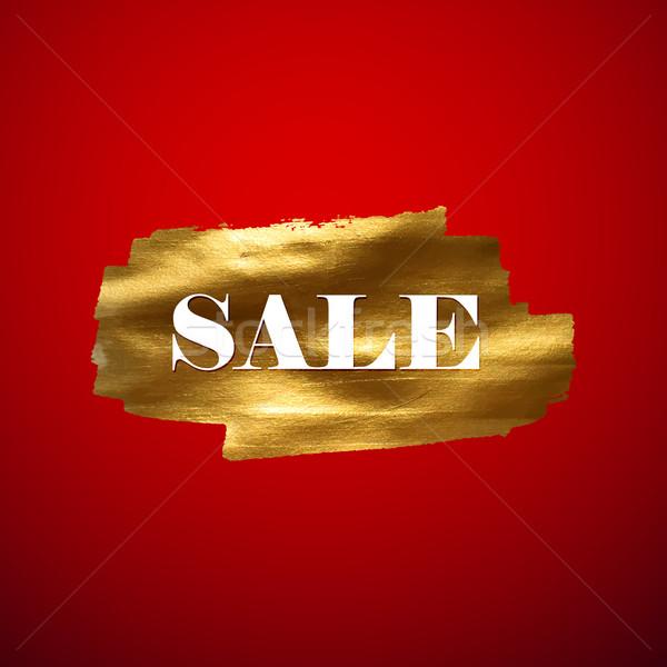 Gouden verkoop banner label ontwerp Stockfoto © maximmmmum