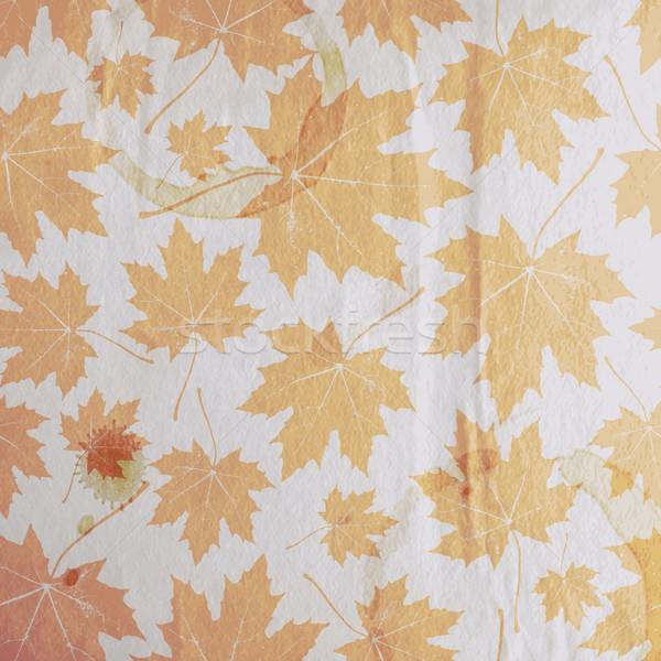 vintage floral autumn (fall) background with maple leaves on the old wrinkled paper texture Stock photo © maximmmmum