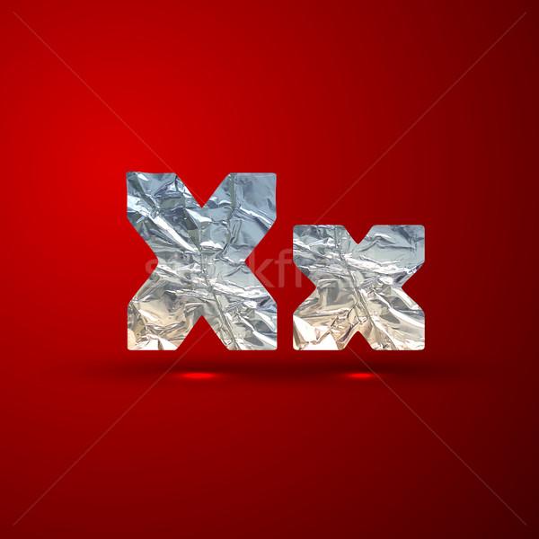 Wektora zestaw aluminium srebrny litery list Zdjęcia stock © maximmmmum