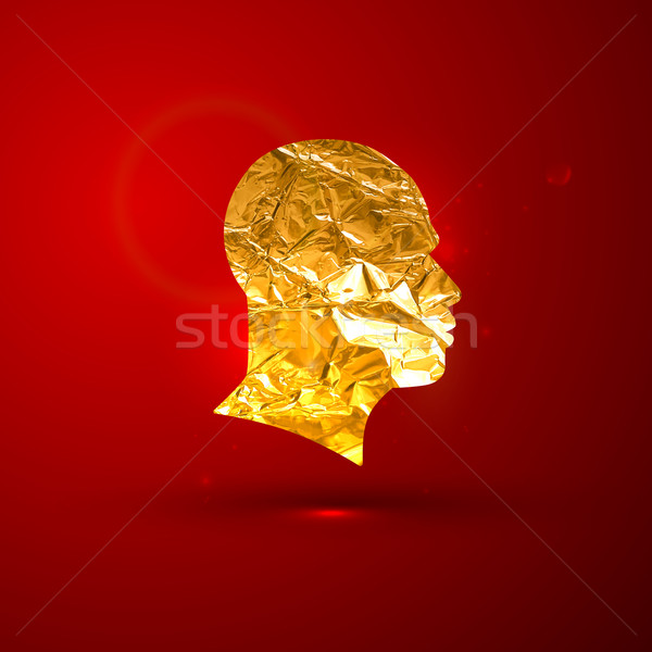 vector illustration of a golden foil human face on the red vivid Stock photo © maximmmmum