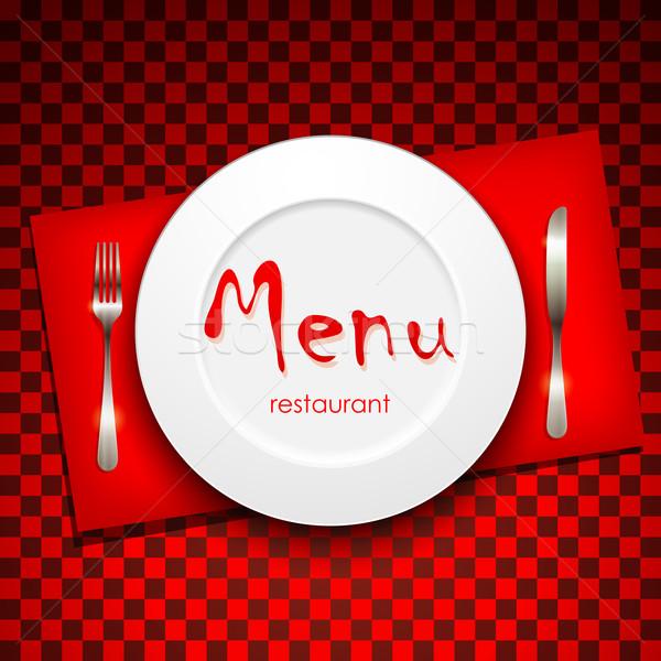 Restaurant menu design plaque argenterie papier Photo stock © maximmmmum