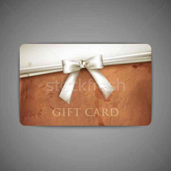 Geschenkkarte Grunge Karton Textur weiß Band Stock foto © maximmmmum