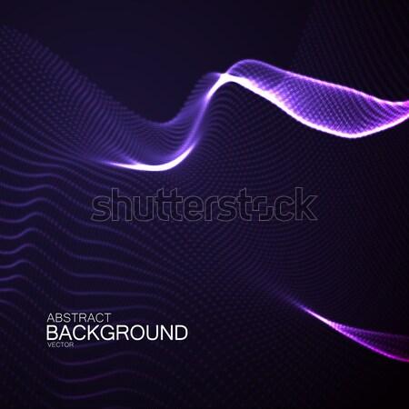 3D megvilágított neon digitális hullám absztrakt Stock fotó © maximmmmum