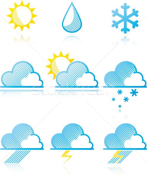 Weer prognose iconen sneeuw regen teken Stockfoto © maximmmmum
