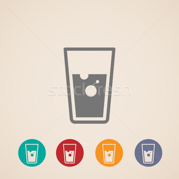 Vector vidrio agua iconos limpio alcohol Foto stock © maximmmmum