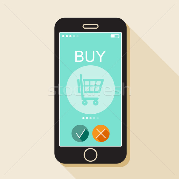 Illustration with a mobile phone. Gadget in flat style with online shop sign and a long shadow  Stock photo © maximmmmum
