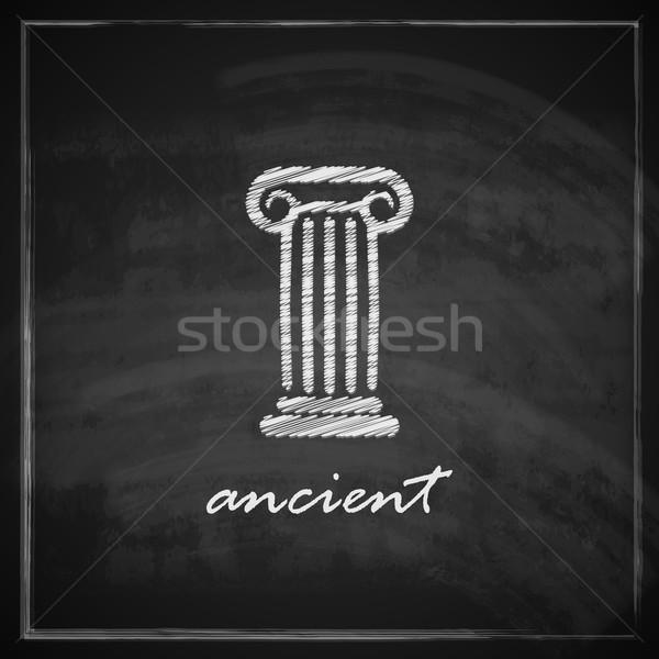 vintage illustration with ancient column on blackboard background.  Stock photo © maximmmmum