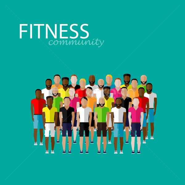 Vettore illustrazione grande gruppo uomini fitness comunità Foto d'archivio © maximmmmum