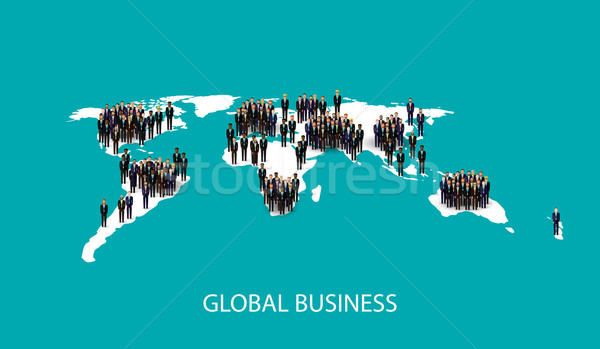 vector flat illustration of business people standing on the world global map shape. infographic glob Stock photo © maximmmmum