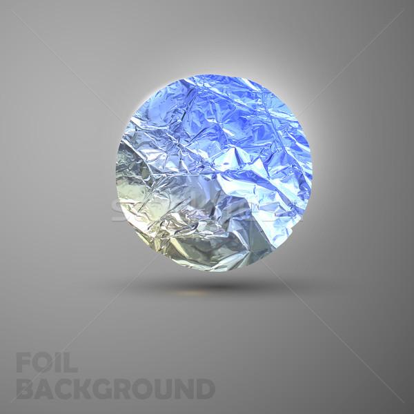 vector illustration of a silver foil circle crumpled banner Stock photo © maximmmmum