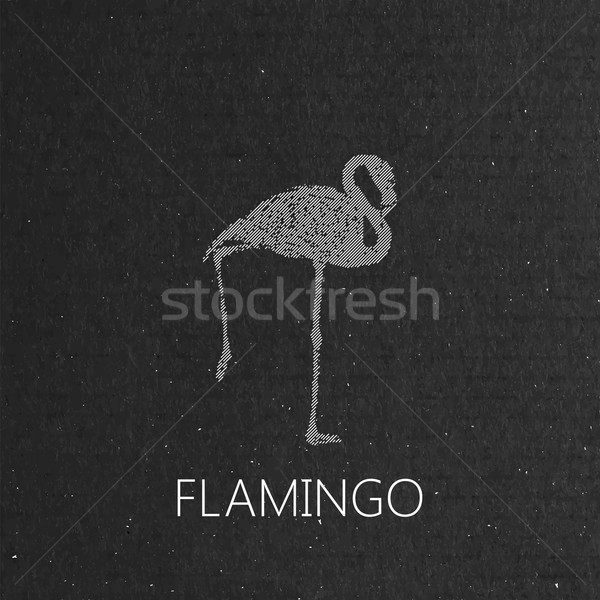 flamingo on the black cardboard texture Stock photo © maximmmmum