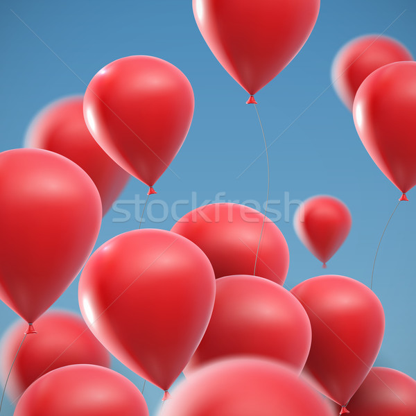 illustration of flying realistic glossy balloons Stock photo © maximmmmum