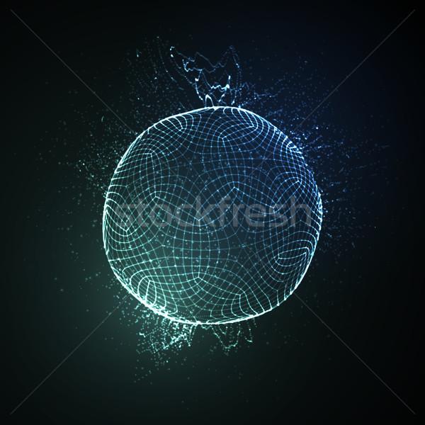 3D сфере частицы неоновых Сток-фото © maximmmmum
