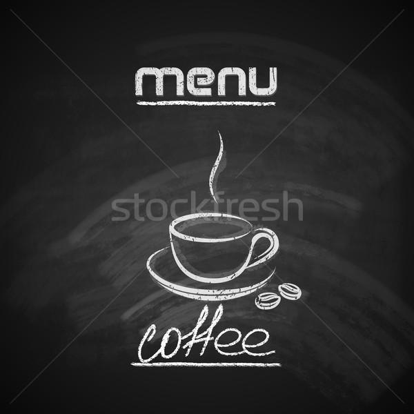 Foto stock: Vintage · quadro-negro · menu · projeto · xícara · de · café · abstrato