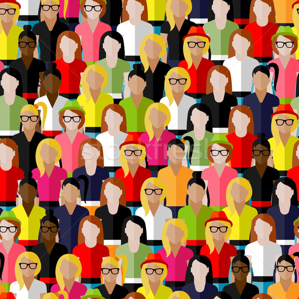 vector seamless pattern with a large group of girls and women. flat  illustration of female communit Stock photo © maximmmmum