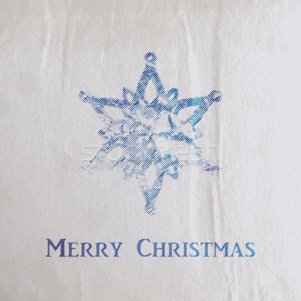 Vektor ünnep illusztráció vésés karácsony hópehely Stock fotó © maximmmmum