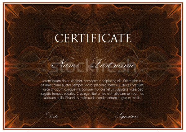 vector template design of certificate with guilloche pattern (watermarks) Stock photo © maximmmmum