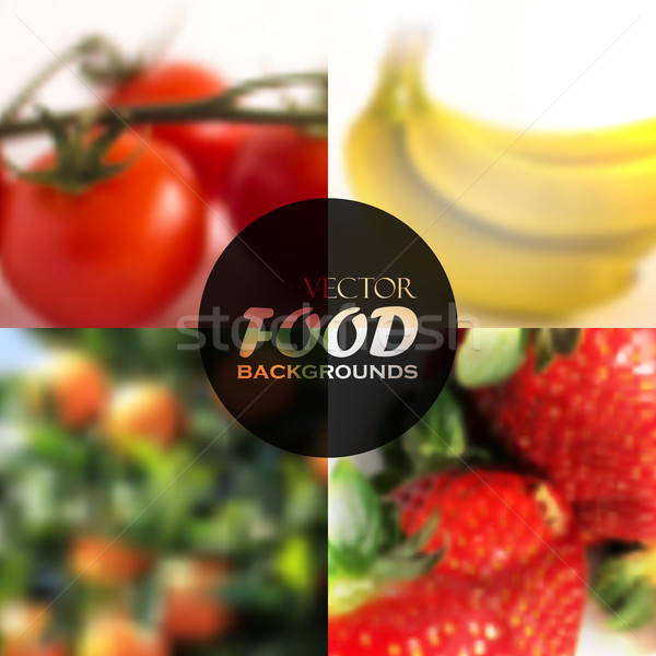 set of realistic food backgrounds with tomatoes, bananas, oranges and strawberries  Stock photo © maximmmmum