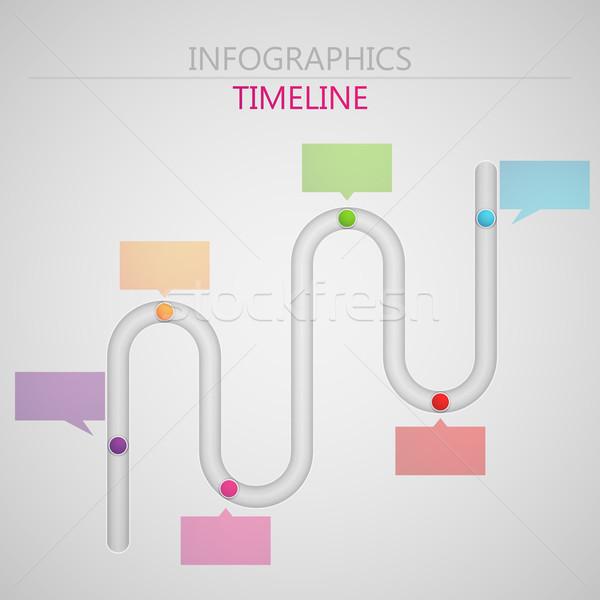 Stock fotó: Vektor · absztrakt · 3D · papír · infografika · elemek