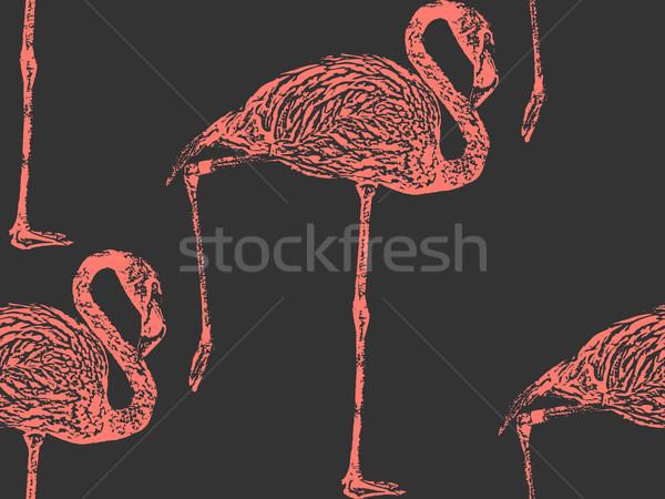 Vektor klasszikus illusztráció rózsaszín flamingó végtelenített Stock fotó © maximmmmum