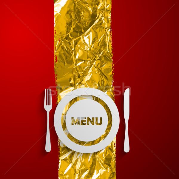 Placa cubiertos rojo dorado restaurante menú Foto stock © maximmmmum