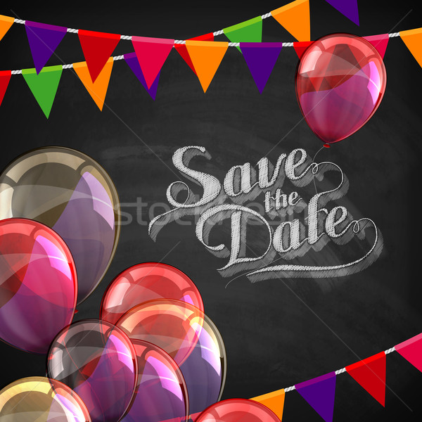 chalk illustration of Save the Date label with balloons and flags Stock photo © maximmmmum
