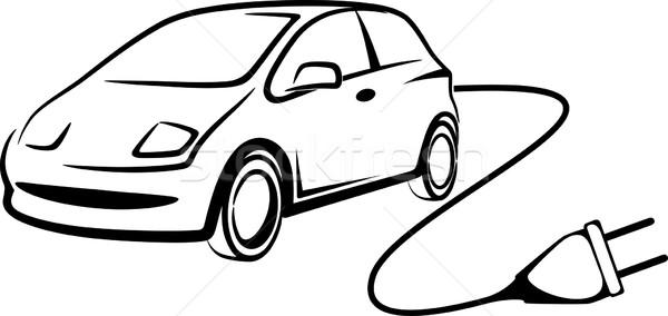 Simple illustration voiture électrique trafic électricité électriques Photo stock © maximmmmum