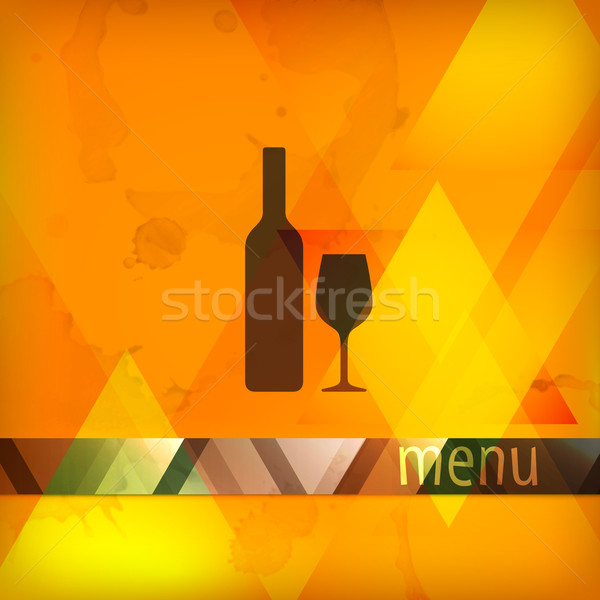 menu design with bottle and wineglass sign  Stock photo © maximmmmum