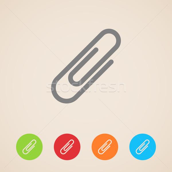 вектора скрепку иконки бизнеса служба бумаги Сток-фото © maximmmmum